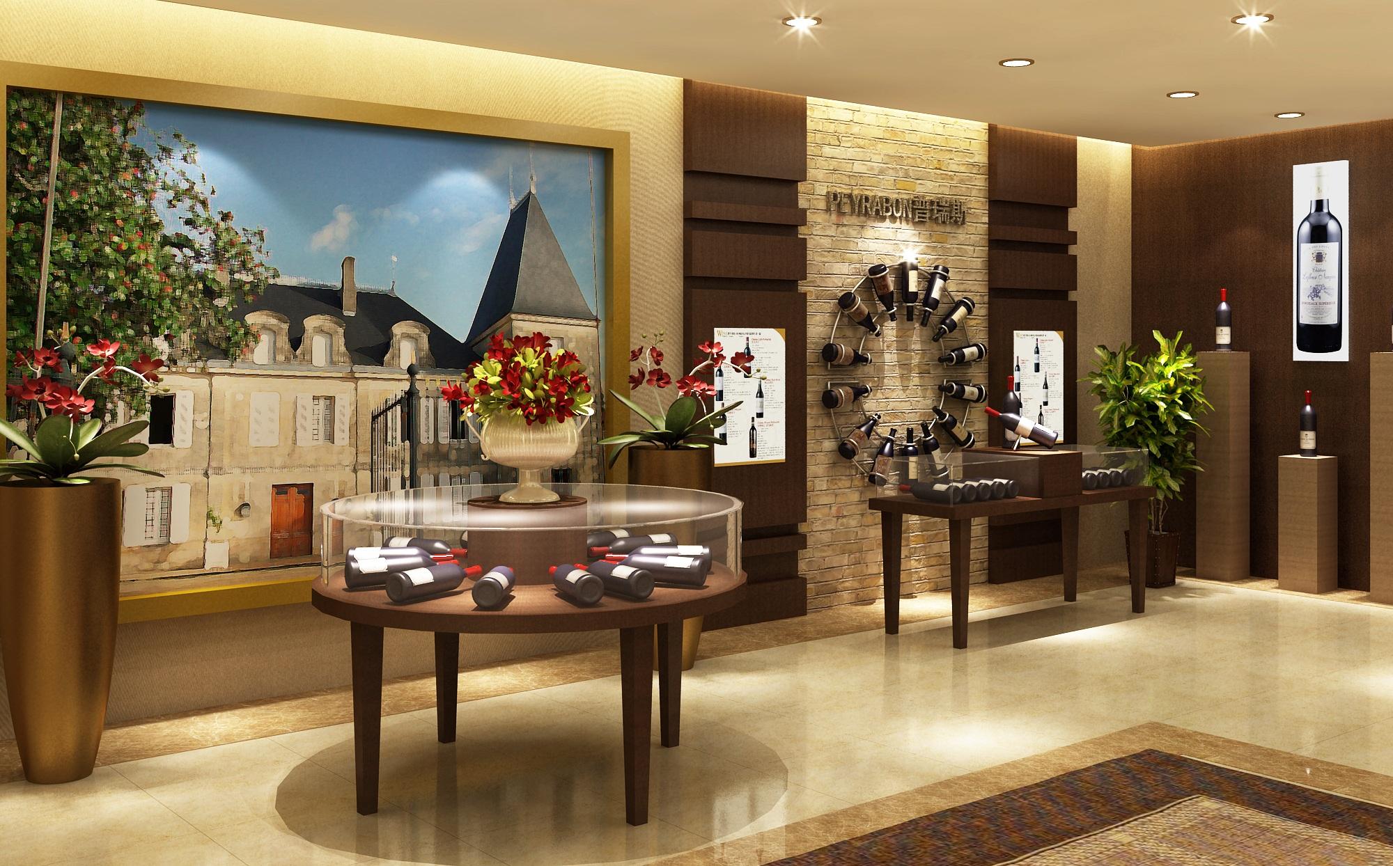 路易卡丹酒庄店招,形象墙,室内装修整套