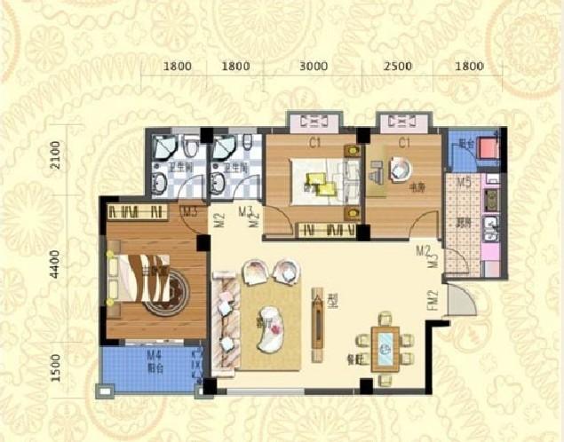 南北朝向100平米三室两厅家装设计图片