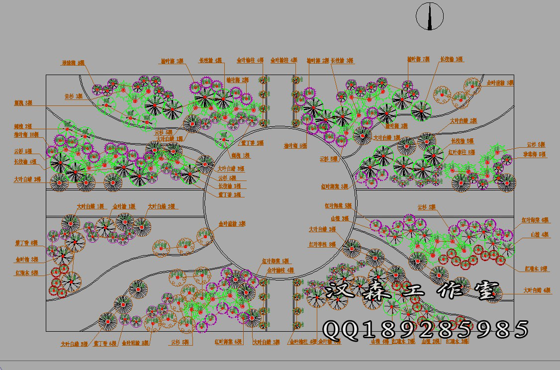 施工图设计案例4-植物配植_汉霖景观设计工作室案例