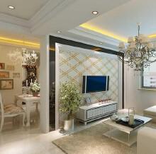 客厅普通住宅3室2厅1卫简欧装修案例效果图