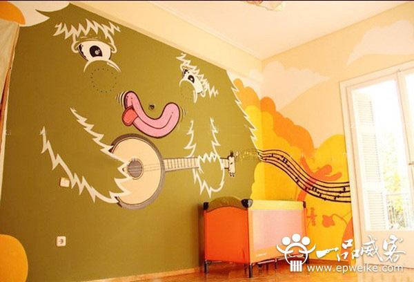 手绘墙画;喜欢体育的朋友可以手绘一些运动题材的画