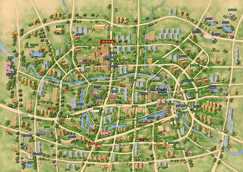 合肥手绘地图,是地产属性的资源配套功能地图