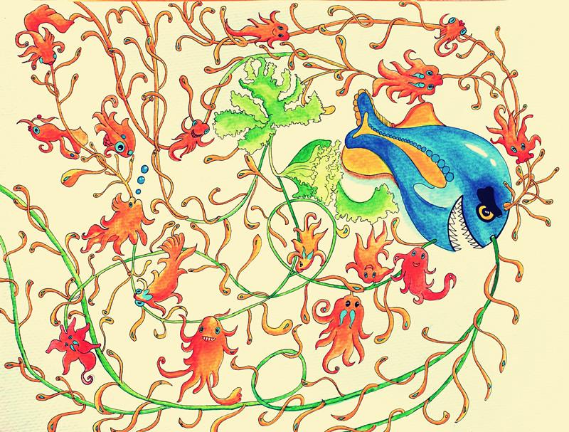 客户订单海洋生物水彩画