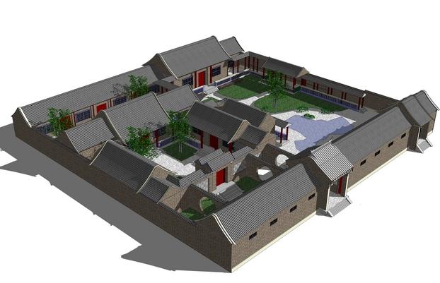 中式房子3d模型设计欣赏