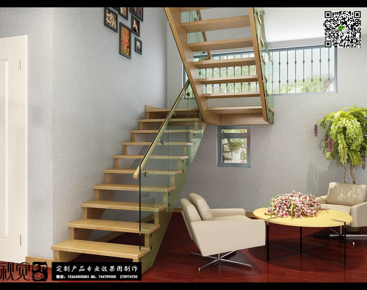 现代简约装修风格的楼梯效果图 ,玻璃护栏加实木踏板