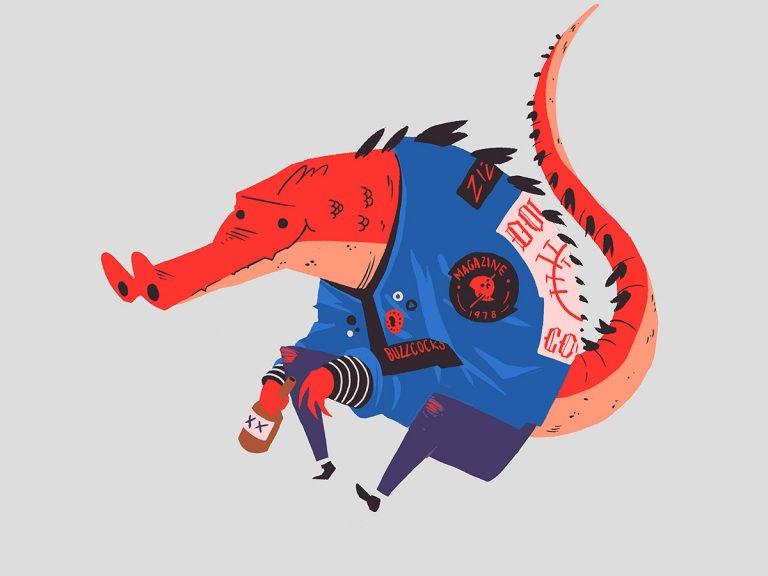 可爱幽默的鳄鱼插画设计