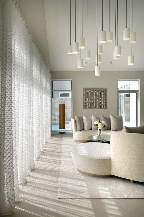 白色客厅窗帘吊顶装修效果图