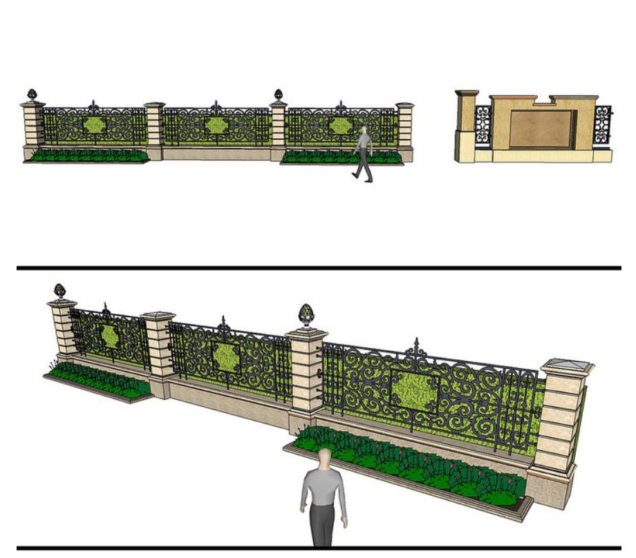 新款铁艺高档围墙设计图