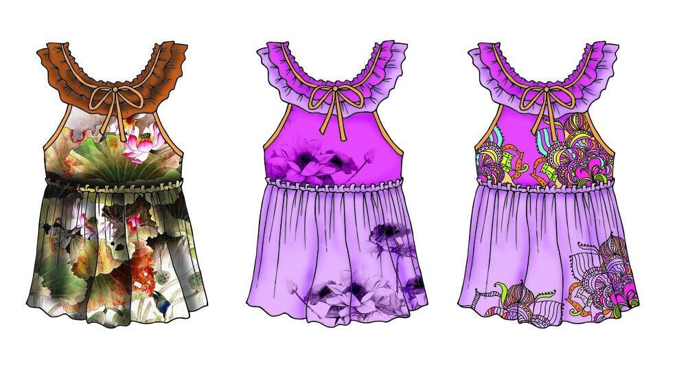 多彩裙子儿童服装设计作品欣赏