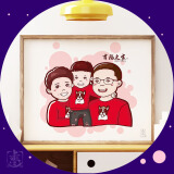 【手绘Q版卡通形象-三人】三口之家/全家福