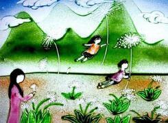 兒童彩色沙畫制作
