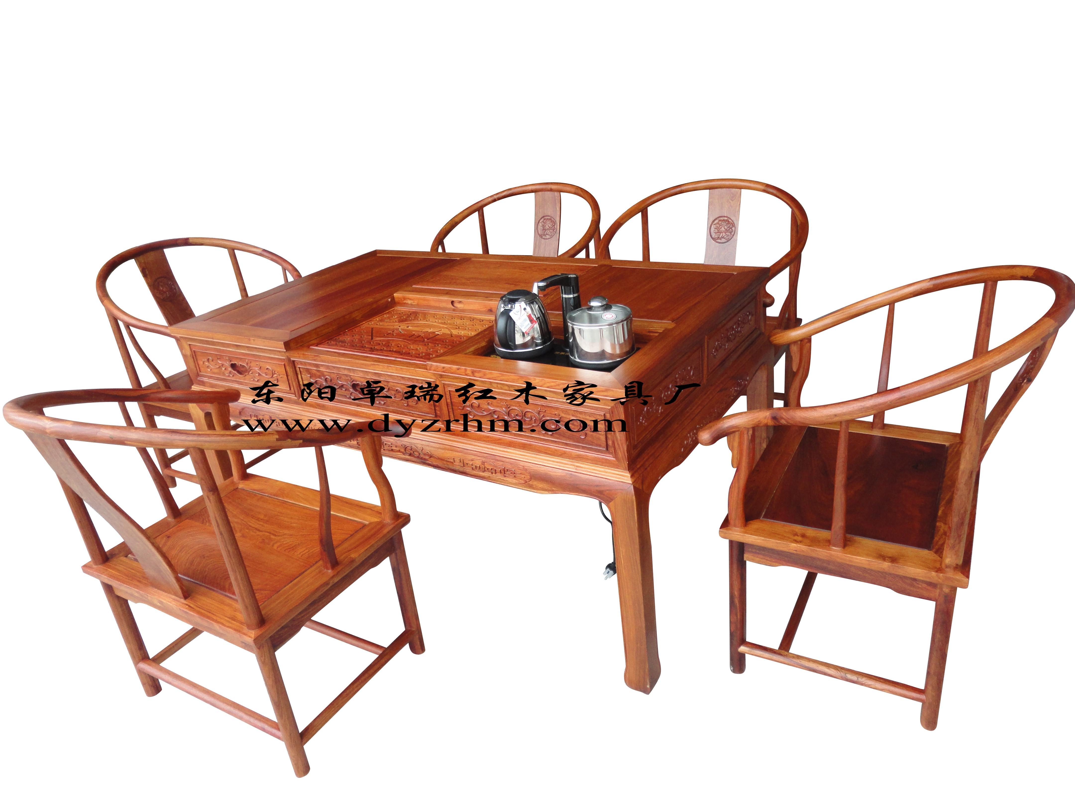红木家具 仿古家具 大果紫檀 缅花1.5米汉宫茶台