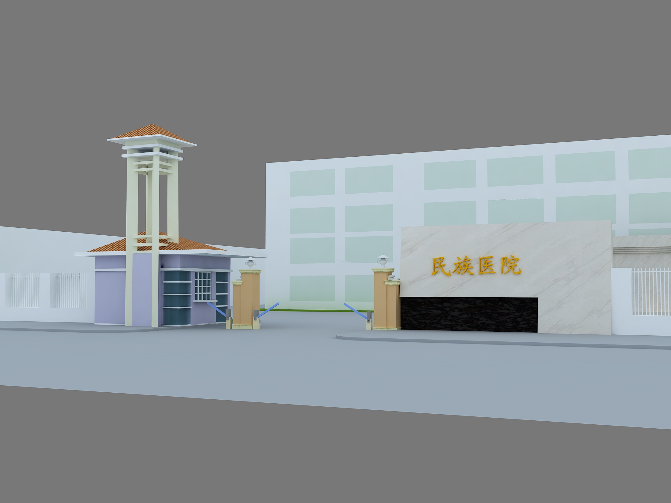 医院大门及门禁系统、院内文化氛围方案设计