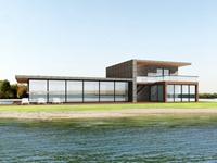 鱼塘边钢架玻璃房别墅外观设计出效果图