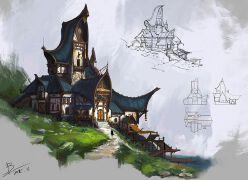 游戏原画欧式建筑设计