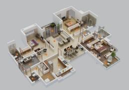 三居室户型3d室内装修效果图案例欣赏