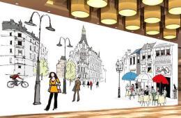欧式咖啡厅咖啡厅背景手绘墙设计