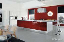 红色厨房装修设计效果图